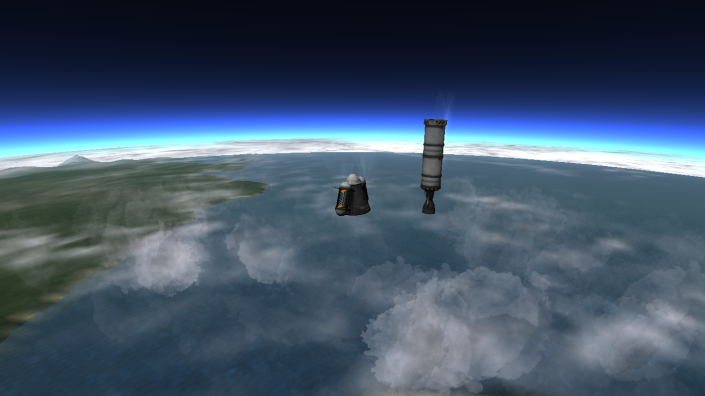 The tanks are successfully ejected away from the main capsule.