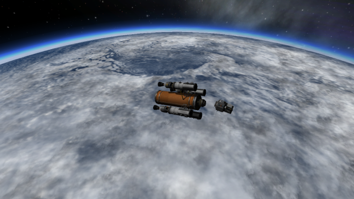 The lander detaches from the RIS above Kerbin