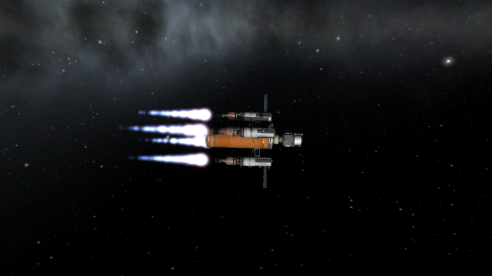 Jeb re-docks with the lander and begins the return journey to Kerbin